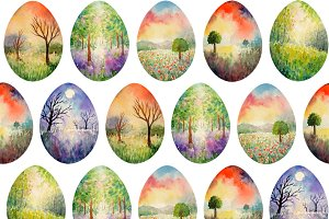 Landscape Easter Eggs Pattern