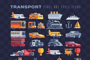 Transport pixel art icons set.