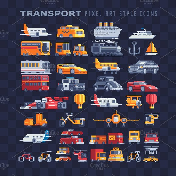Transport Pixel Art Icons Set