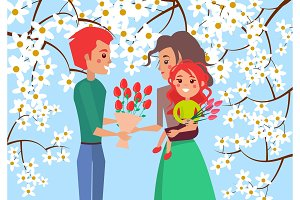 Father Gives Bouqet of Tulips to Wife and Daughter