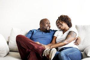 A cheerful black couple