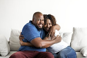 A cheerful black couple