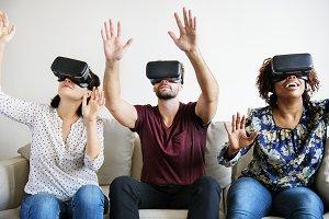 Friends enjoying VR