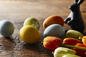 holiday colorful easter eggs with ha