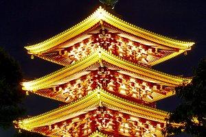 Sensoji temple at night, Tokyo