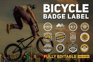 12 Bicycle Badge Logo & Labels