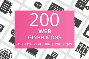 200 Web Glyph Icons