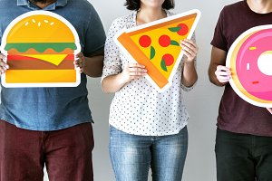 Diverse friends with food icons