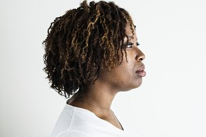 Portrait of black woman isolated