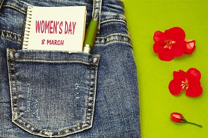 concept of women's day. Blue jeans w