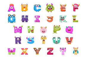 Cute Alphabets and Numbers Monsters