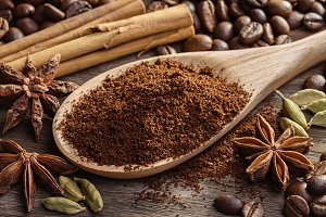Spices, coffee beans, ground coffee.