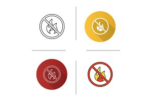 Forbidden sign with fire icon