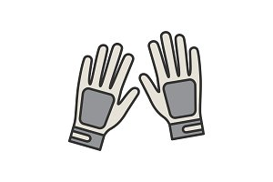 Sport gloves color icon