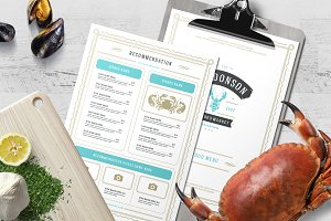 Seafood Menu Template and Logo