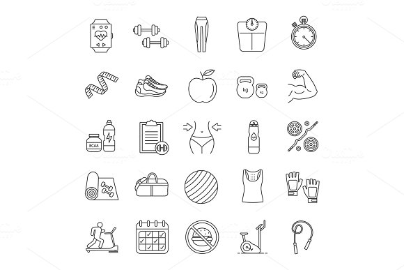 Fitness Linear Icons Set