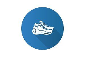 Sneakers flat design long shadow glyph icon