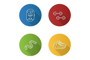 Fitness flat linear long shadow icons set