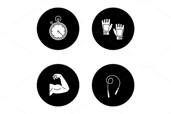 Fitness Glyph Icons Set