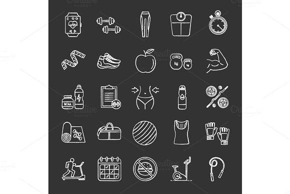 Fitness Chalk Icons Set