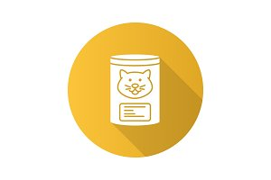Canned cat food flat design long shadow glyph icon