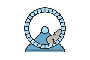 Hamster wheel color icon