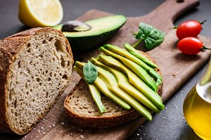 Avocado and rye bread toast