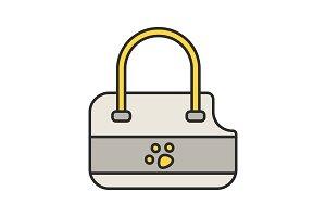 Pets bag carrier color icon