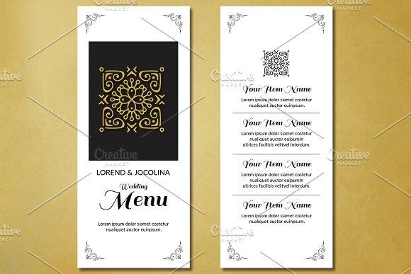 wedding menu card template card templates creative market