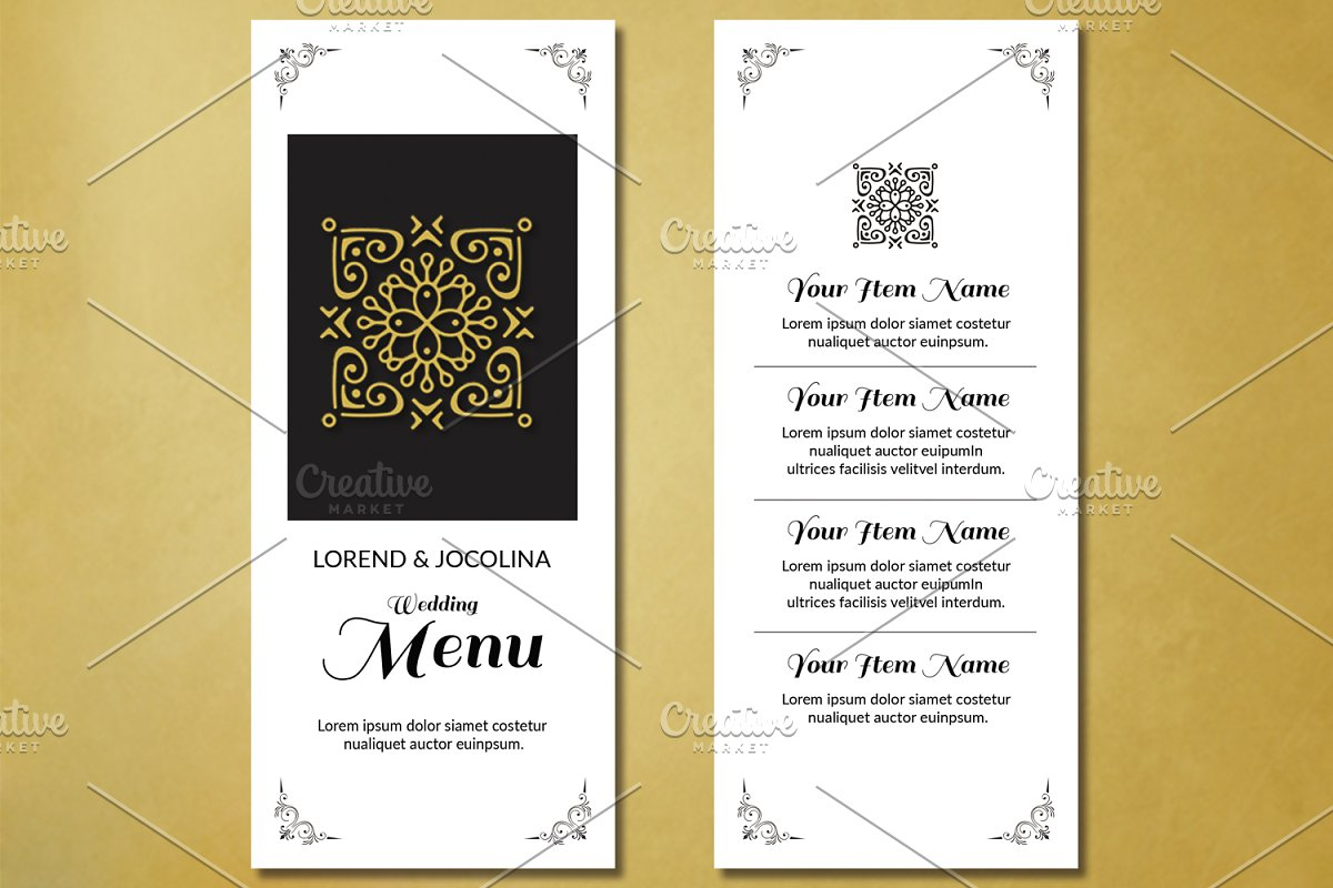 Wedding Menu Template.Wedding Menu Card Template