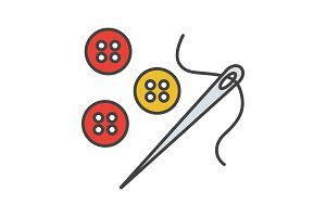 Sewing buttons and needle with thread color icon