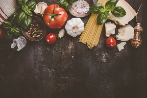 Products ingredients for pasta cook