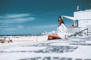 Black girl on the summer beach