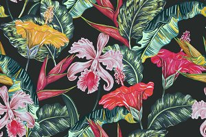 Tropical leaves,flowers pattern