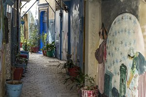 Streets and details of Tangier. Moro
