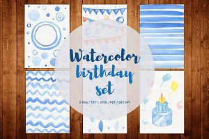 Watercolor handpainted birthday set