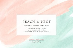 Peach Mint Watercolor Splash Swash