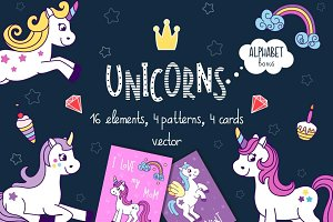 Unicorns vector set + alphabet bonus