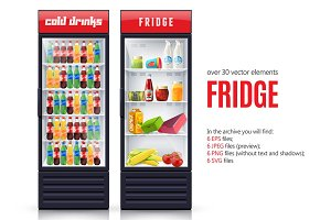 Supermarket Fridges Realistic Set