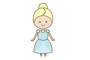 Cute princess icon. Cinderella