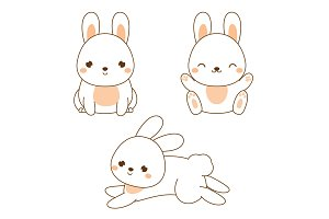 Cute kawaii rabbit, bunny, hare