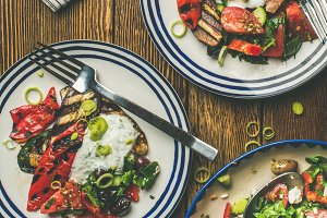 Flat-lay of healthy dinner table set