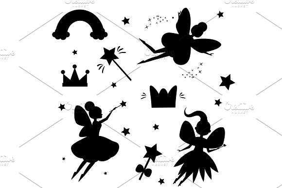 Flying Fairies Silhouettes