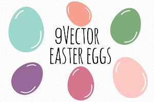 9 Vector Easter eggs