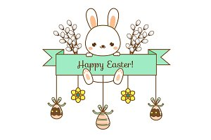 Cute bunny. Happy Easter banner
