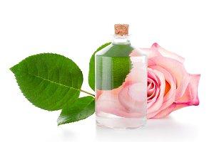 Transparent bottle and rose