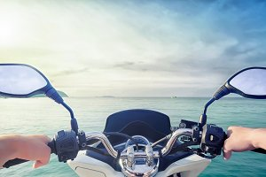 Motorcycle with sea view