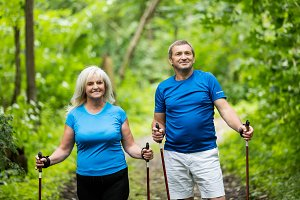 Senior marriage trekking together in