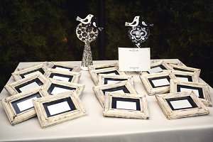 Frames with white paper.