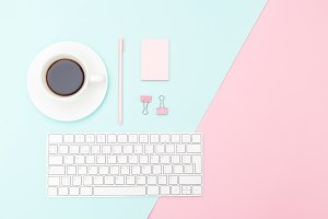 Desktop pastel color. Copy space